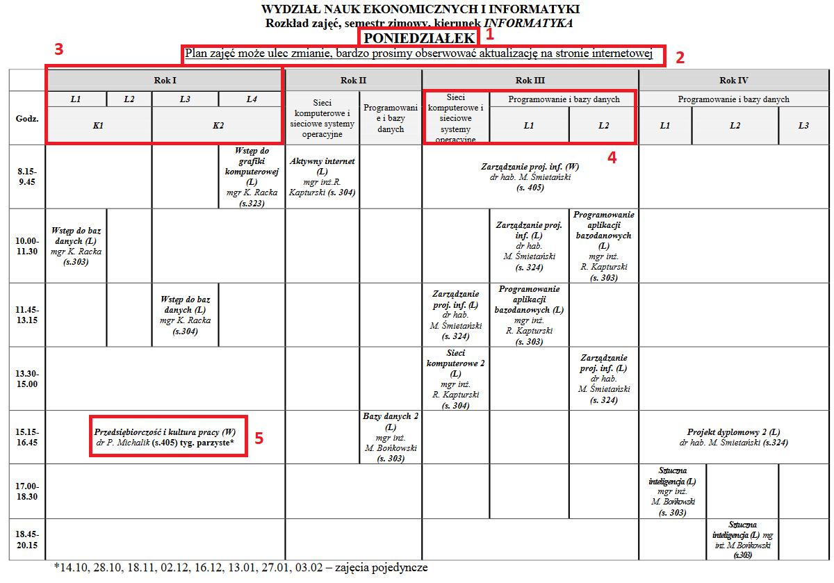 plan zajęć na studia MUP w Płock